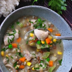 Hearty chicken, vegetable and lentil soup