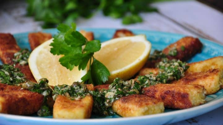 Haloumi fries with roasted garlic, anchovy and caper sauce