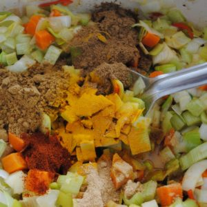 Adding the spices to the onion mixture