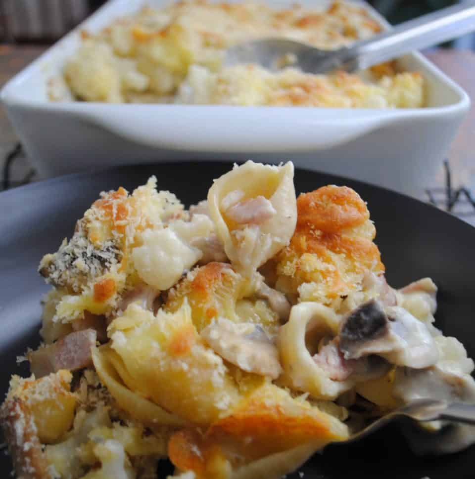 cauliflower pasta bake with bacon and mushrooms - cooked and served on black plate