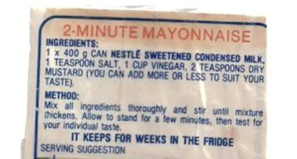 Nestle label showing the ingredients and method to make condensed milk mayonnaise