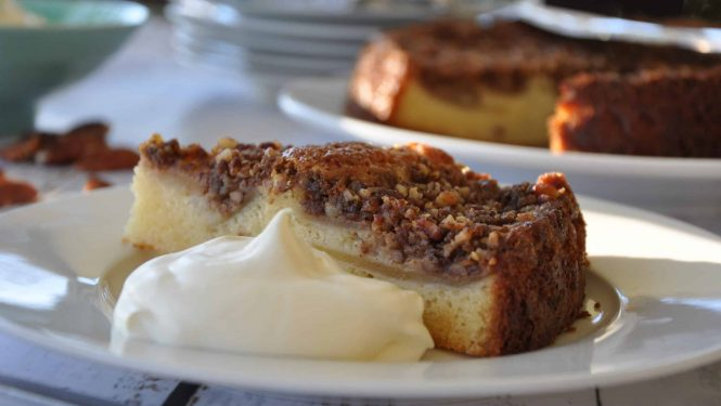 German apple and pecan crumble cake