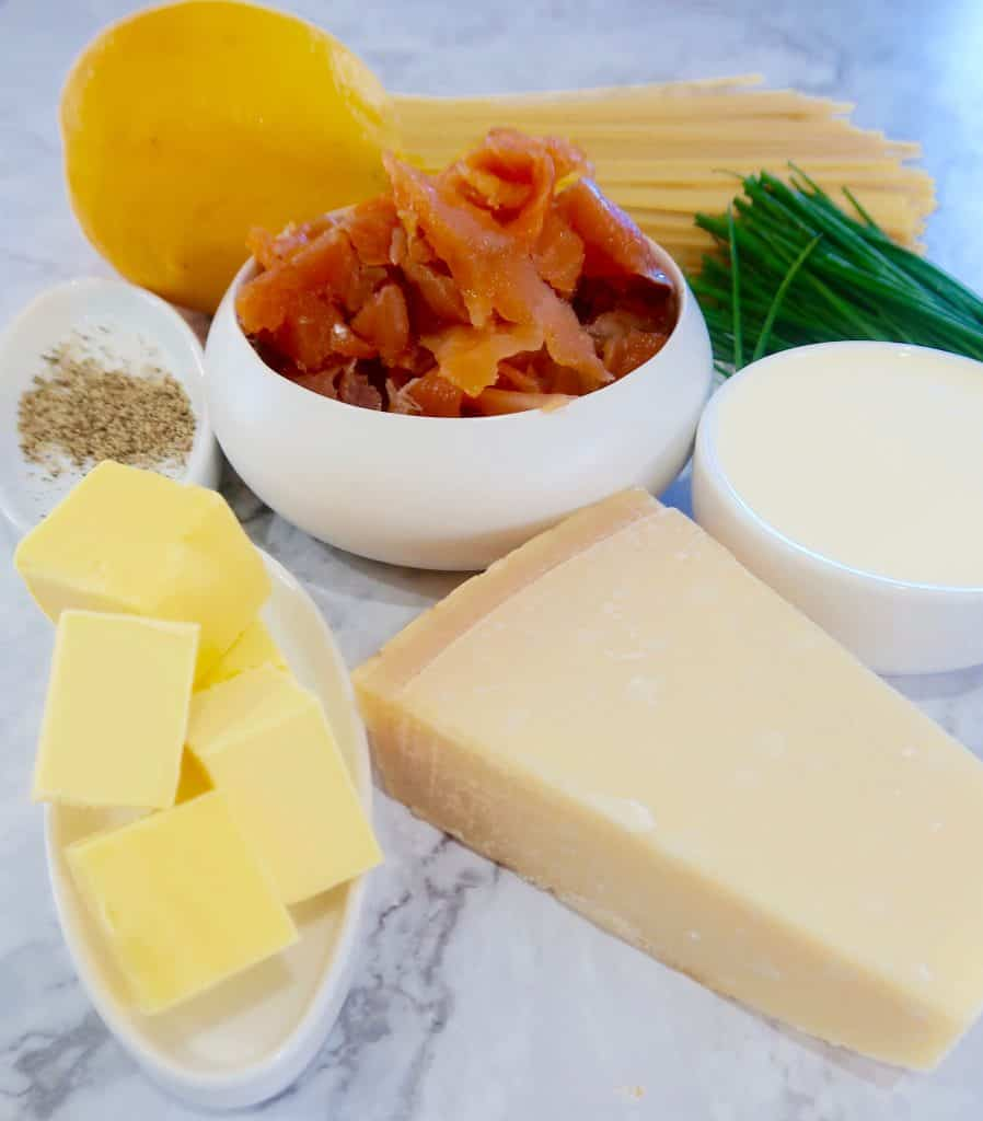 smoked salmon and lemon pasta ingredients ready to prep
