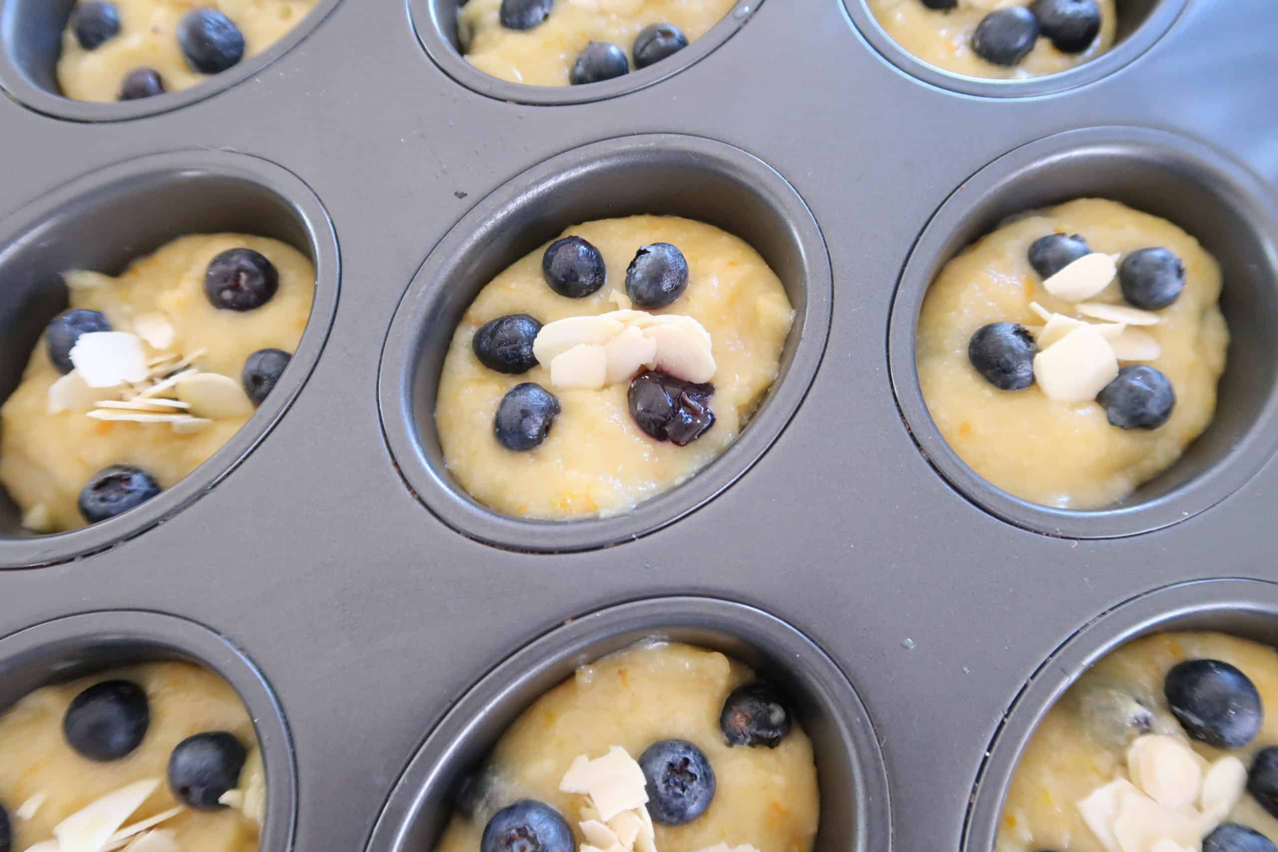 blueberry friends with orange zest mixture in friend tin ready to bake