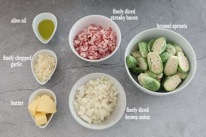 Ingredient to make Quick Brussel Sprouts with Bacon Onion and Garlic