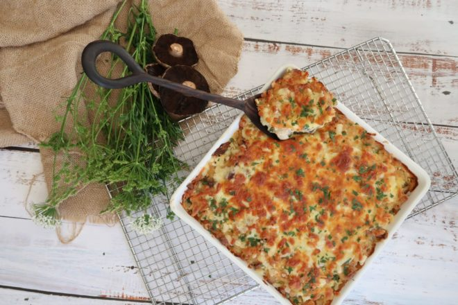 Chicken and Mushroom Pasta Bake