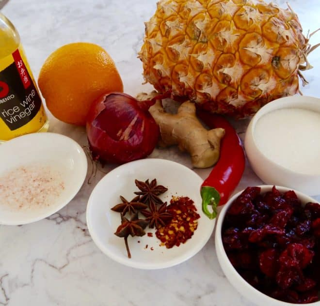 spicy pineapple and cranberry relish ingredients on a marble bench