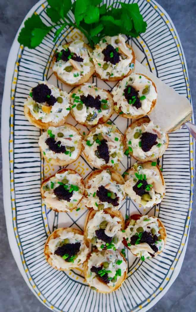 Smoked Mackerel Pate served on Blinis with water cress are a lovely holiday season finger food