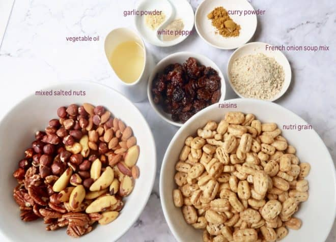 ingredients for nutty bolts in individual bowls
