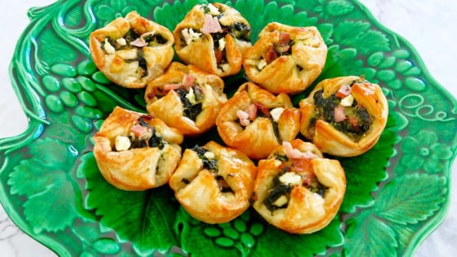 Cheese, spinach and bacon puffs