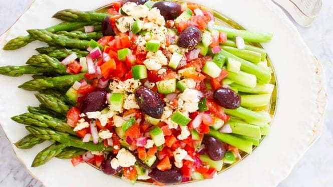 asparagus with greek salad medley