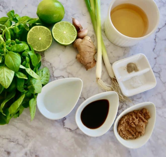 Thai Basil and ginger dressing ingredients ready to prepare