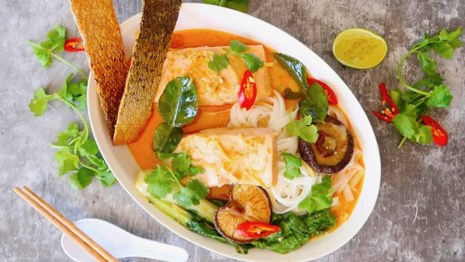 Thai salmon and coconut noodle soup