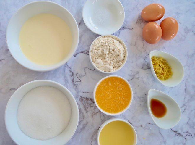 Ingredients to make easy crustless lemon tart