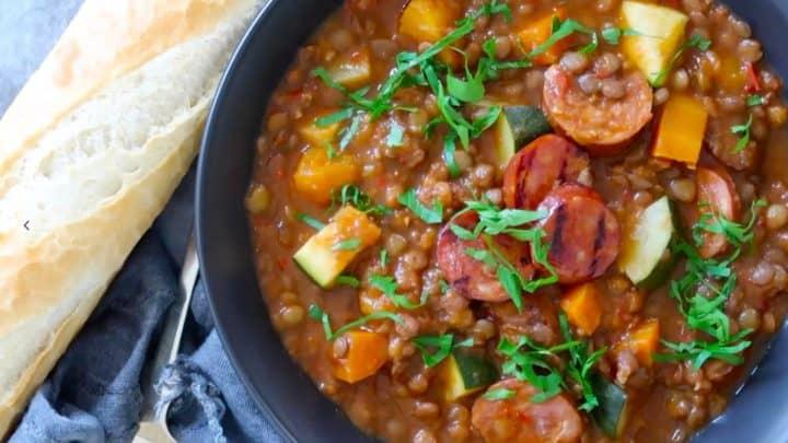 lentil, chorizo and vegetable soup