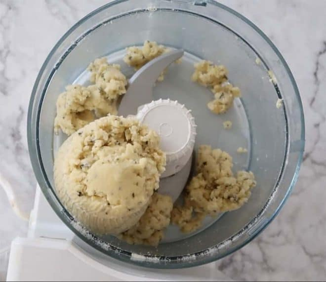food processor with the mixture to make Parmesan and Rosemary Shortbread