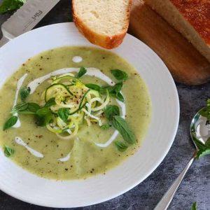 Zucchini soup with pesto