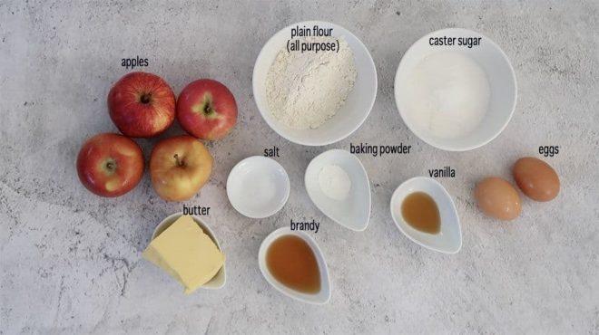 ingredients to make Brown Butter Apple Cake