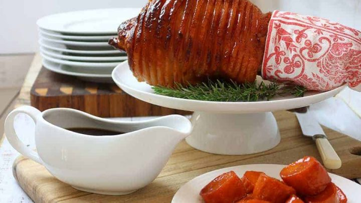 Festive Pineapple Glazed Ham with Candied Sweet Potatoes