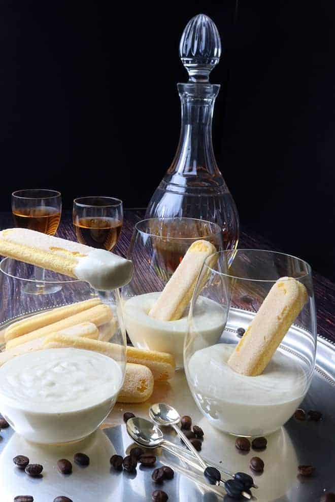 Zabaglione - Italian Dessert Custard served in stemless glasses on a silver tray