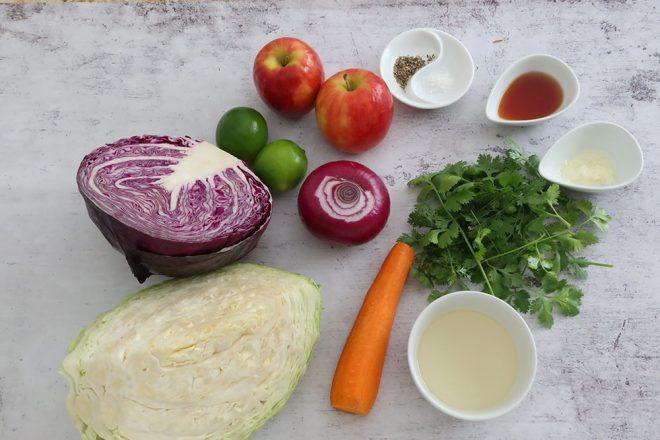 Red & Green Apple Slaw Ingredients