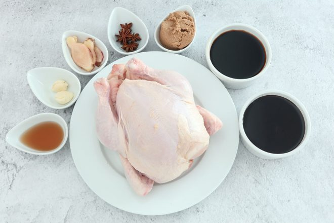 Ingredients to make Soy Star Anise Braised Chicken