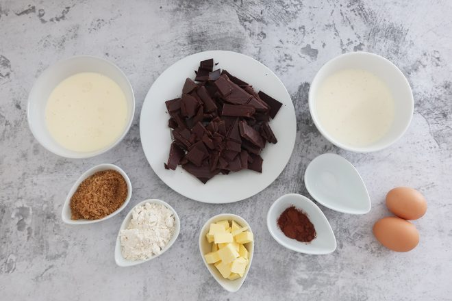 Ingredients to make Upside Down Chocolate Crumble Tart