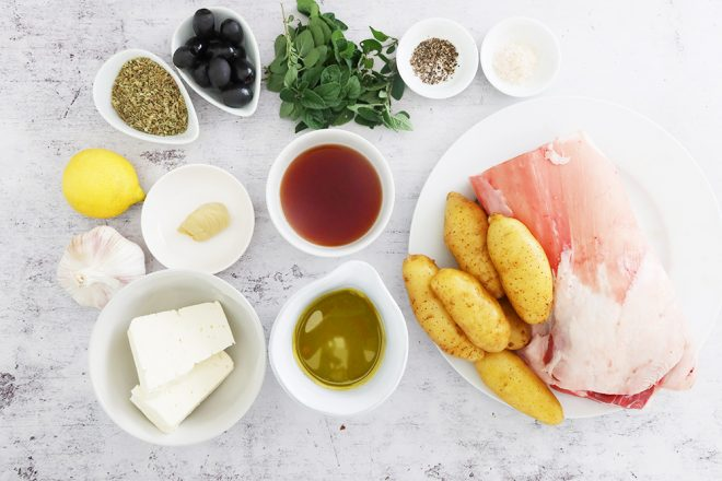 ingredients to make Roast lamb with fetta and olive dressing