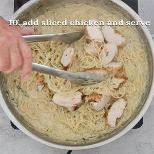 adding the chicken Angel Hair Pasta and Chicken with Creamy Garlic Sauce