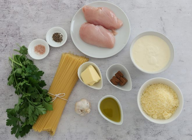 Ingredients to make Angel Hair Pasta and Chicken with Creamy Garlic Sauce