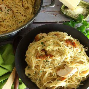 Angel hair pasta with chicken and creamy garlic sauce