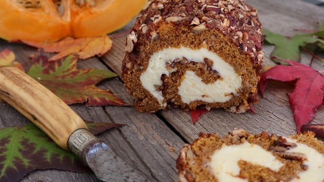 Pumpkin Spice Roulade Cake Recipe (with Pecan Nuts)