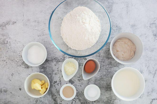 Ingredients to make Dinner Rolls Homemade