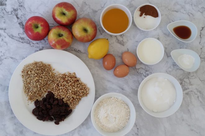 Sicilian Apple Cake ingredients on a marble table