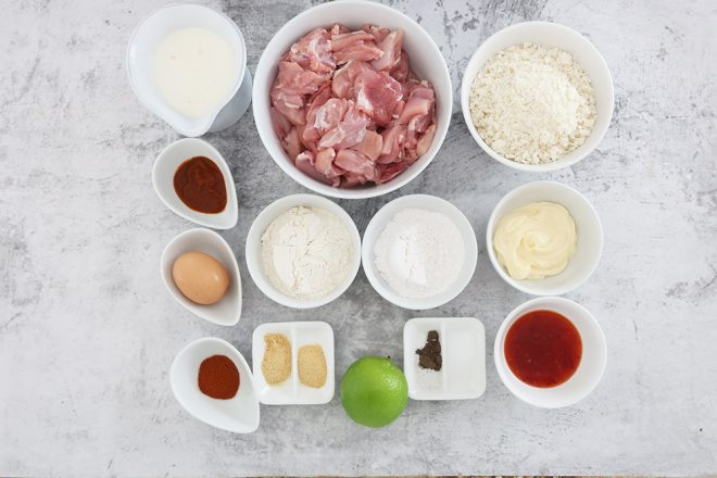 Ingredients for How To Make Bang Bang Chicken on a stone bench
