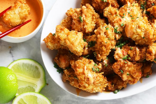 How To Make Bang Bang Chicken on a white plate
