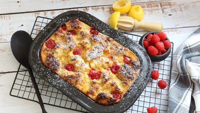 Brioche Bread Pudding With Lemon Curd And Raspberries | Easy