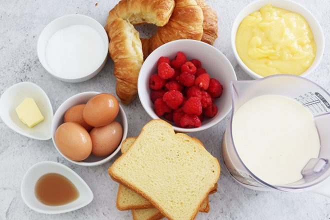 ingredients to make Brioche Bread Pudding With Lemon Curd And Raspberries
