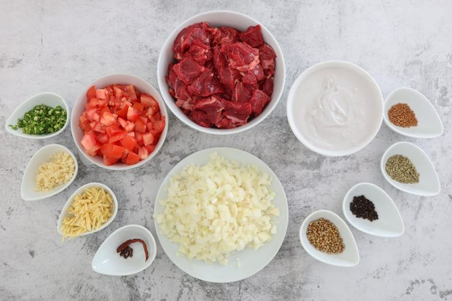 Ingredients to make Beef Madras Indian Curry