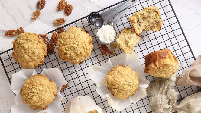 banana buttermilk muffins with pecans