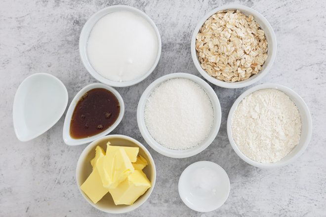 Ingredients to make Anzac Day Biscuits