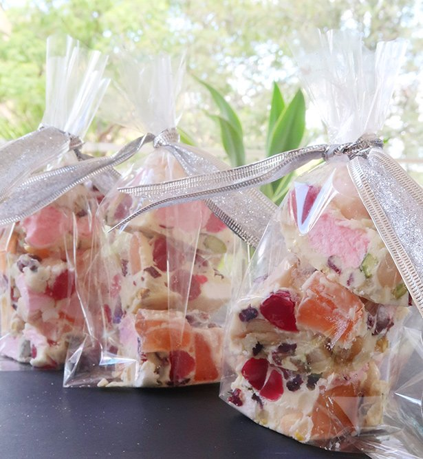 Gift bags of White Chocolate Rocky Road Candy Bar