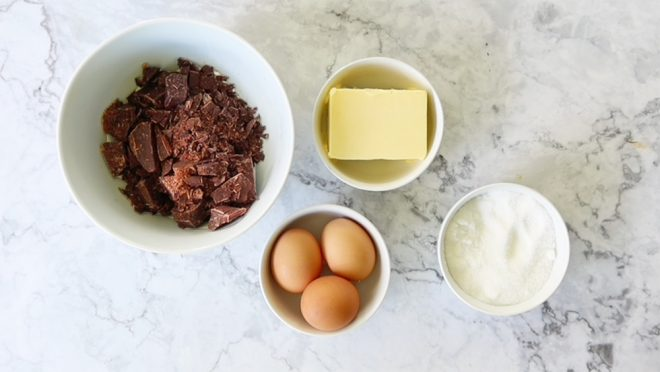 ingredients to make Chocolate Nemesis Cake
