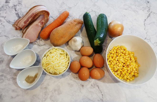 Ingredients to make Bacon Zucchini and Corn Slice