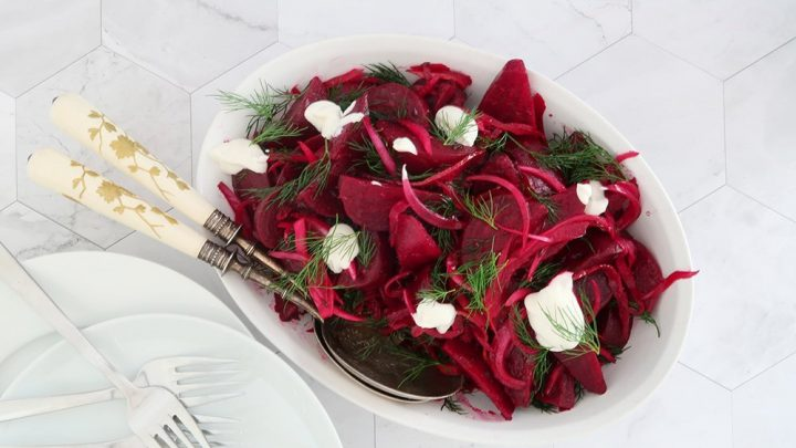 Roasted Red Beet Salad With Yoghurt And Dill